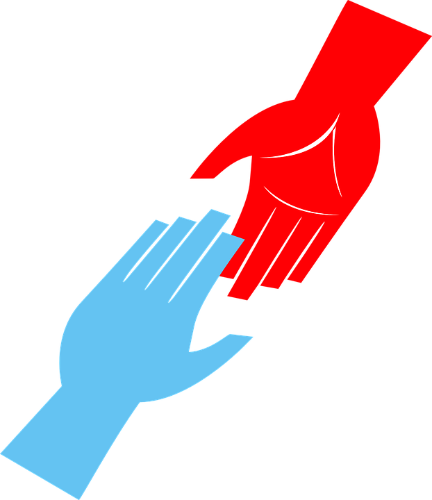 Blue hand reaching up to a red hand