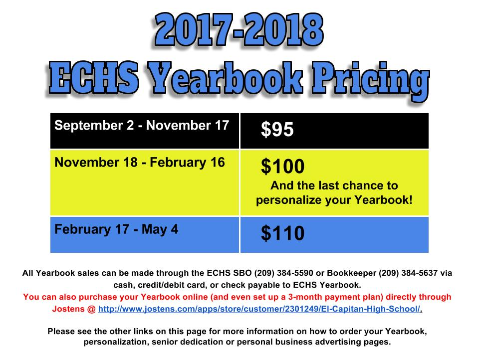 yearbook pricing information